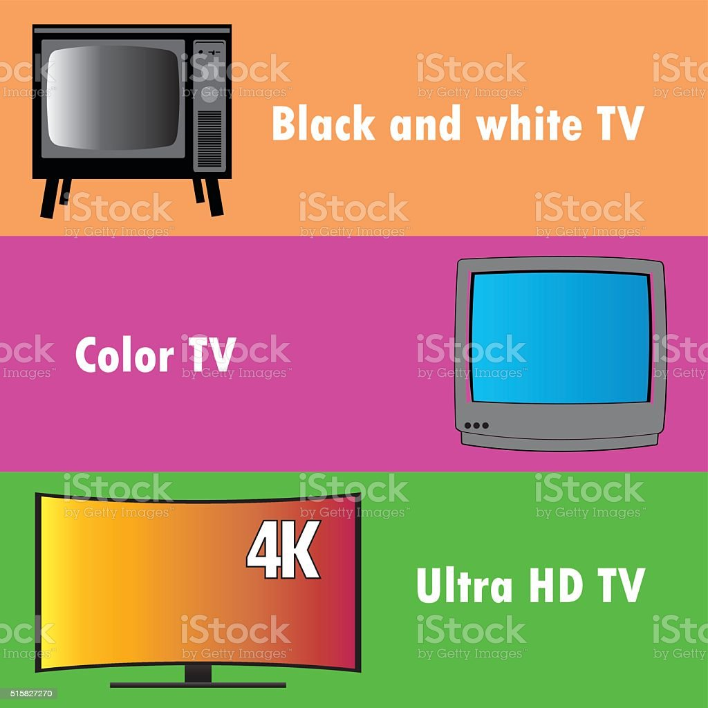 Banners or background, the evolution of television vector art illustration