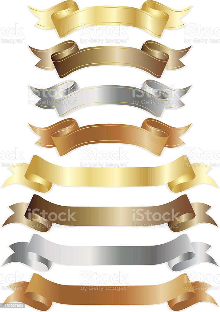 Banners or Ribbons Set - Shiny Metallics vector art illustration