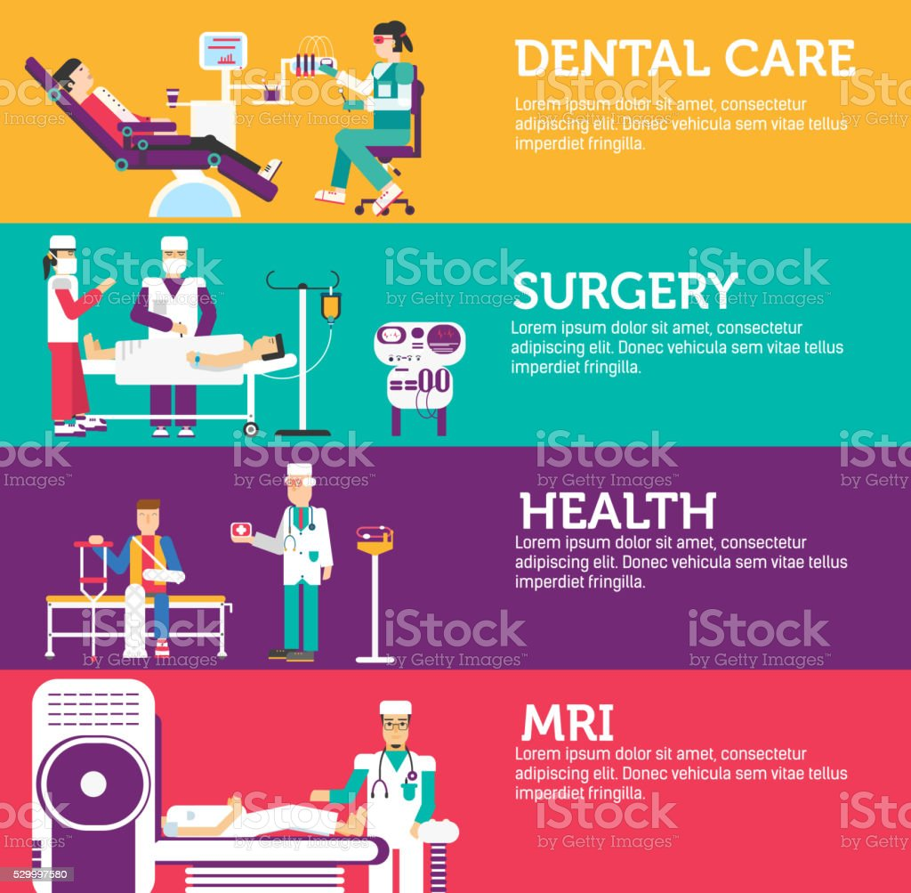 Banners set of clinic medical examination doctor vector art illustration