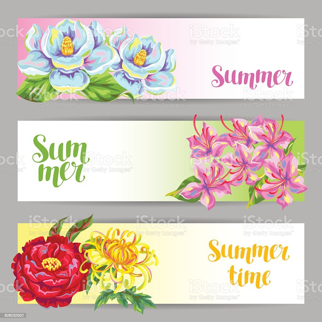 Banners set with China flowers. Bright buds of magnolia, peony vector art illustration