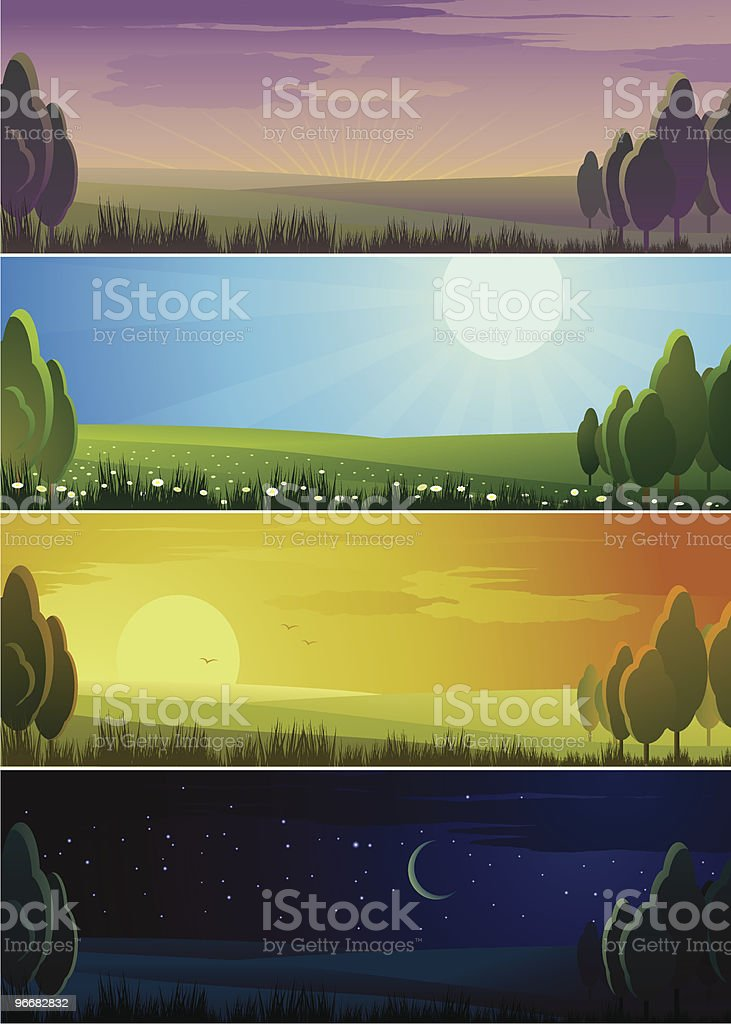 Banners showing day sequence - morning, noon, evening and night royalty-free stock vector art