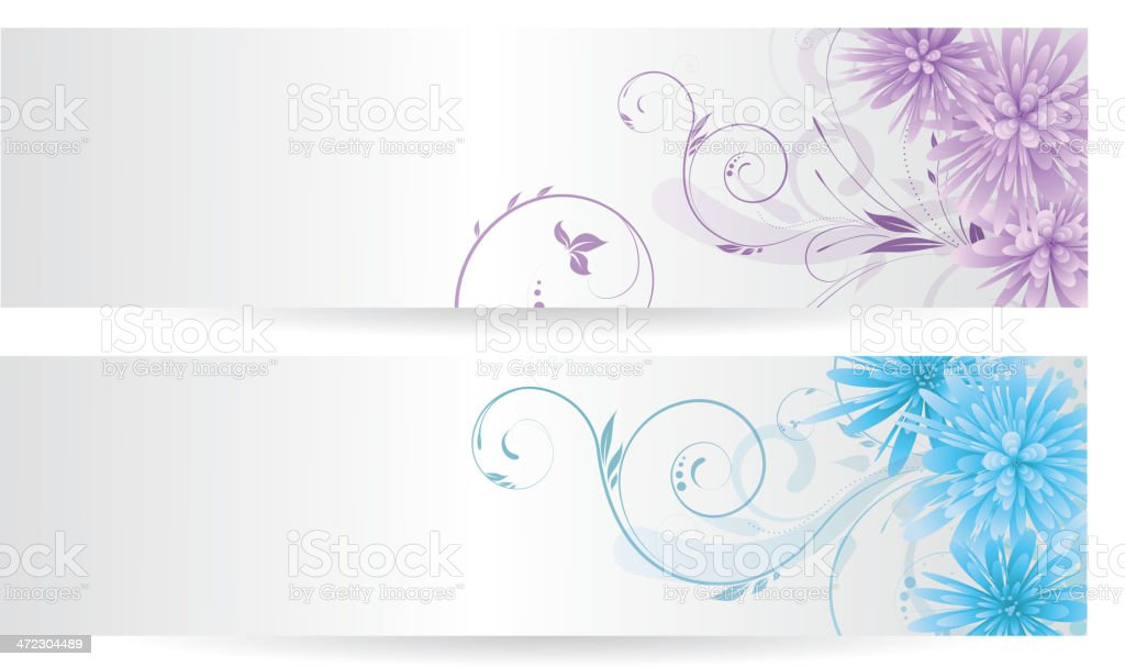 Banners with abstract flowers royalty-free stock vector art