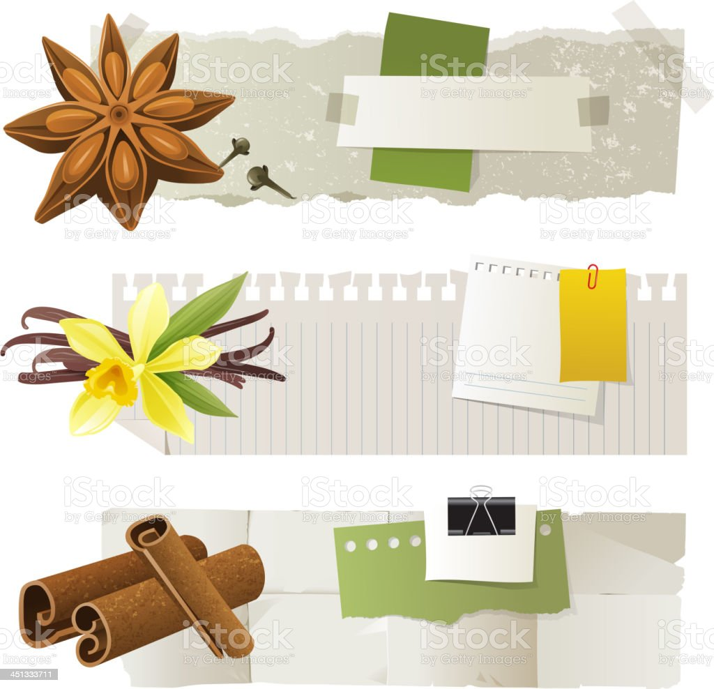Banners with anise, vanilla, cinnamon royalty-free stock vector art