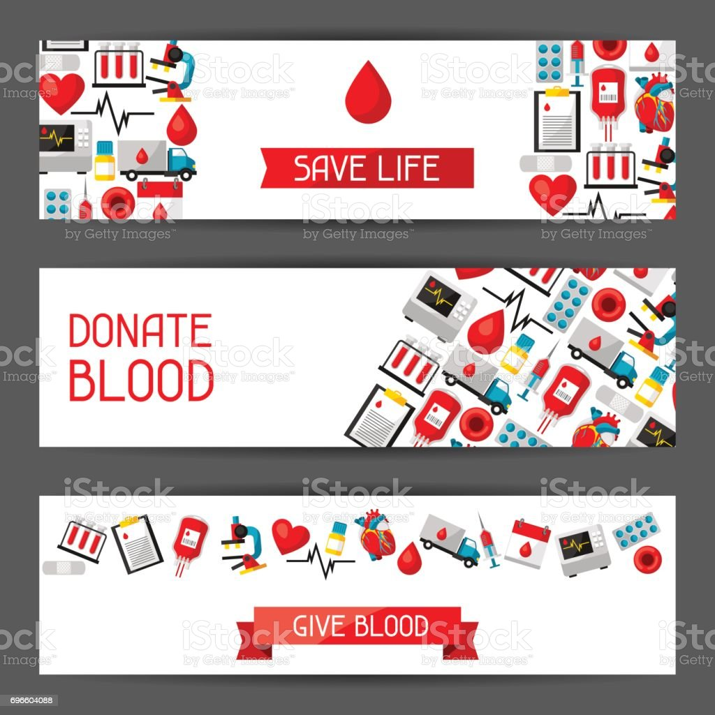 Banners with blood donation items. Medical and health care objects vector art illustration