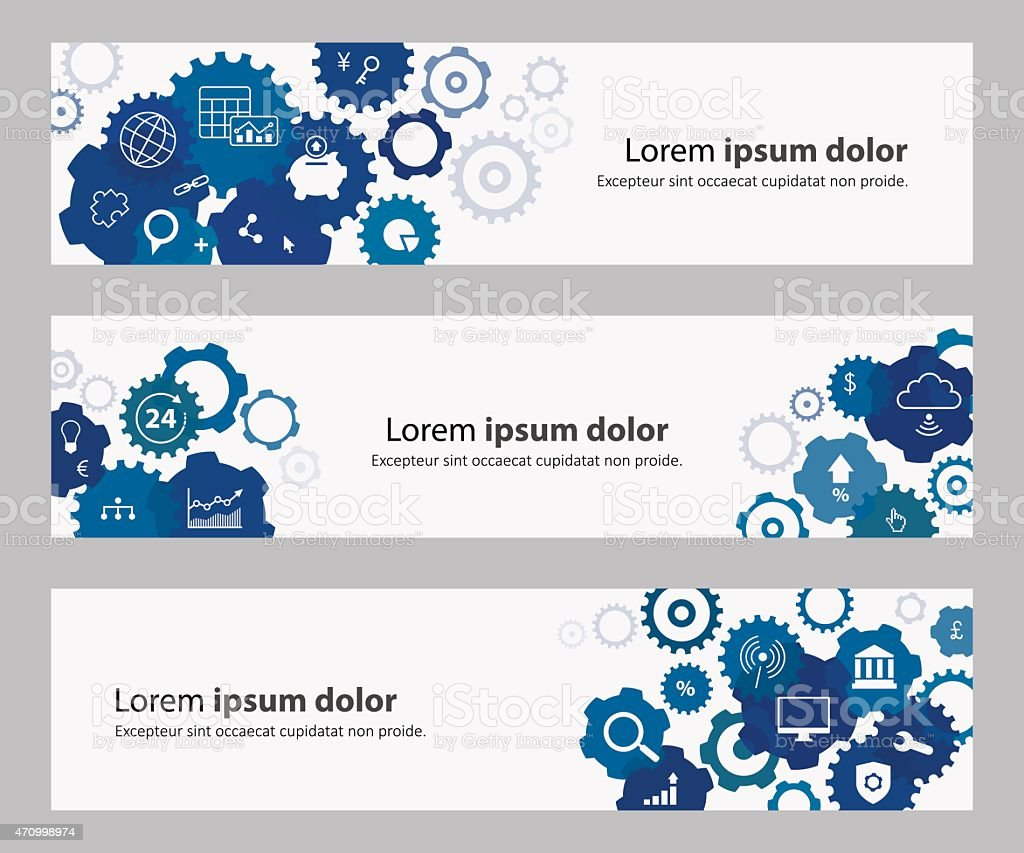 Banners With Blue Gears And Banking Online Icons vector art illustration