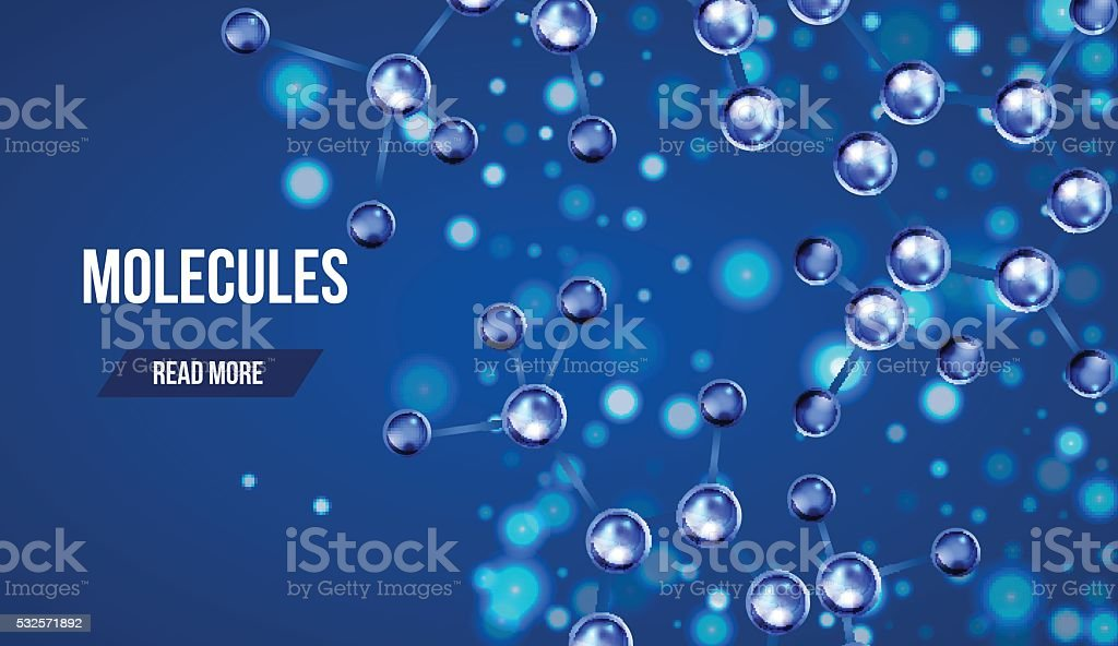 Banners with blue molecules design. vector art illustration