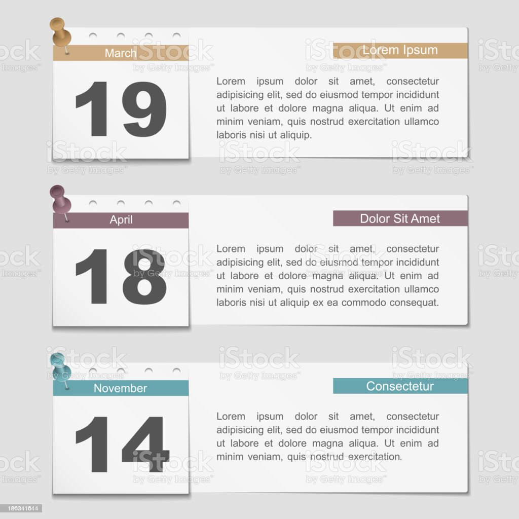 Banners with Calendar Pages vector art illustration