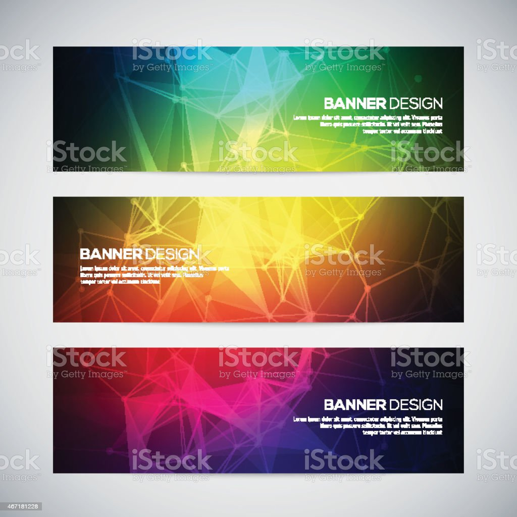 3 banners with colorful, abstract geometric shapes vector art illustration