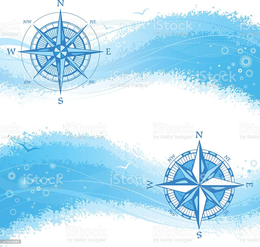 Banners with Compass Rose royalty-free stock vector art