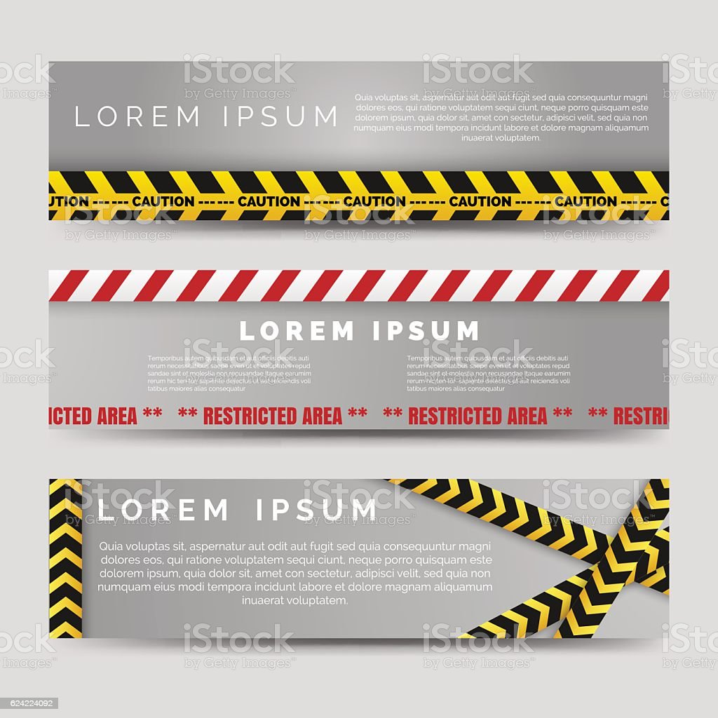 Banners with danger tapes vector art illustration