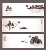 Banners with fishing boats and islands in vintage style. Traditional