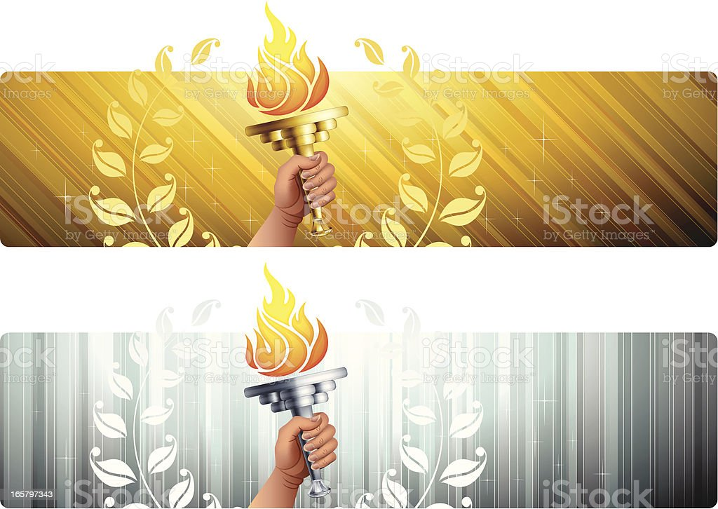 Banners with Flaming Torches vector art illustration