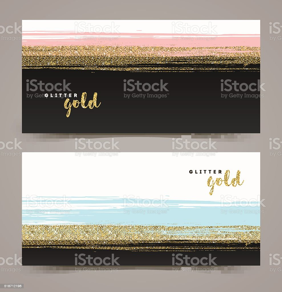 Banners with grunge glitter gold stripe, vector illustration. vector art illustration