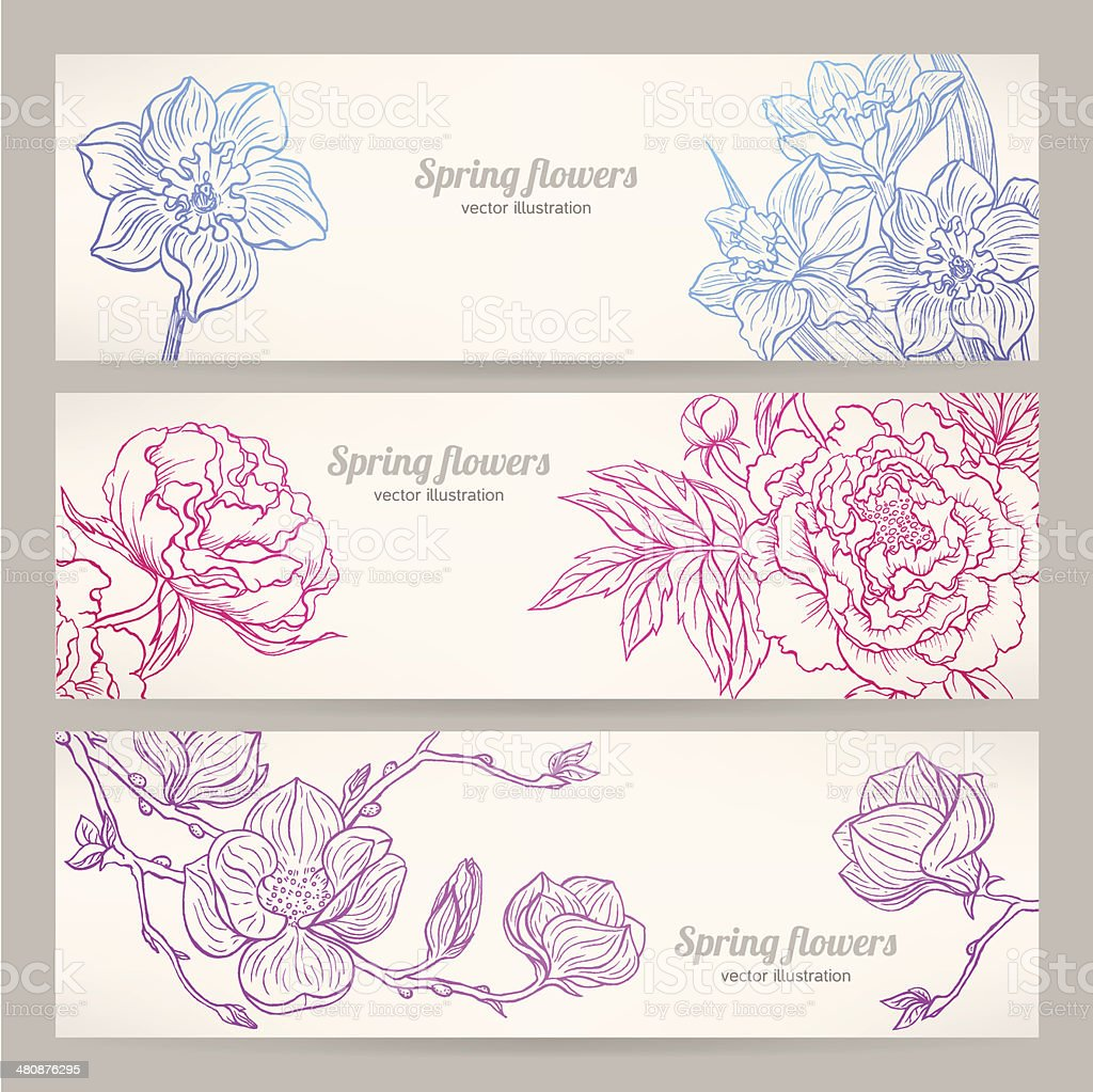 banners with hand-drawn flowers vector art illustration