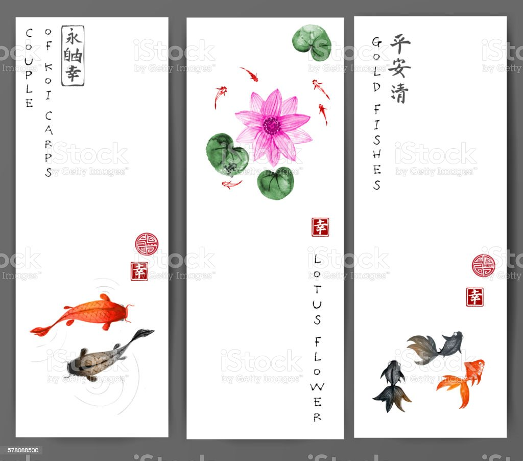 Banners with koi carps, gold fishes and lotus flower vector art illustration
