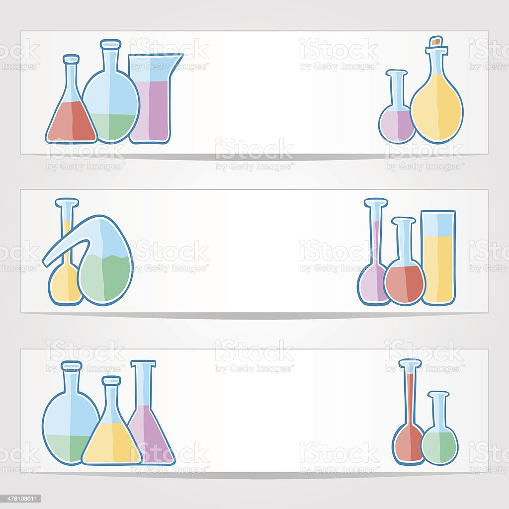 Banners with laboratory test tubes royalty-free stock vector art