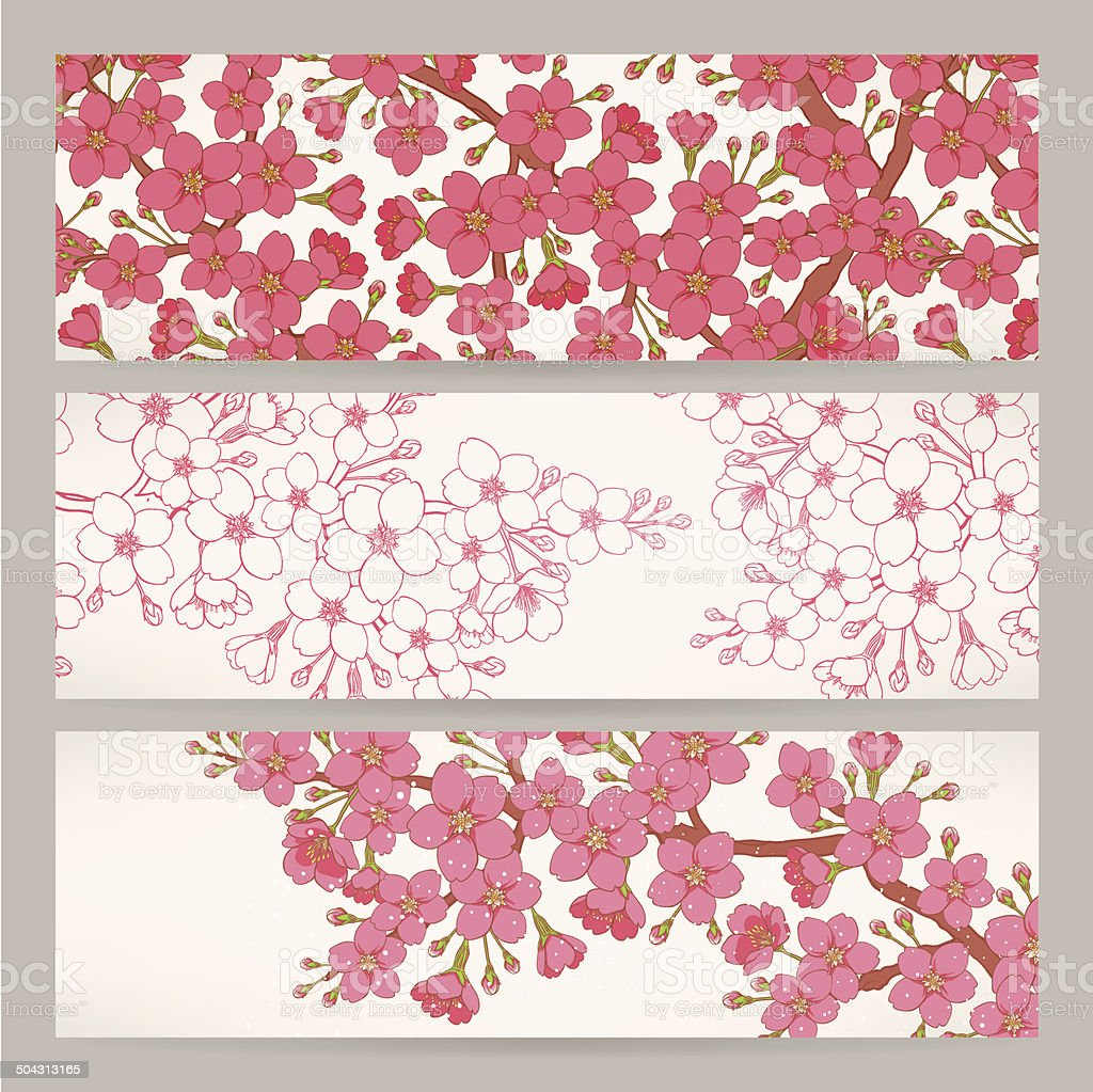 banners with pink cherry flowers vector art illustration