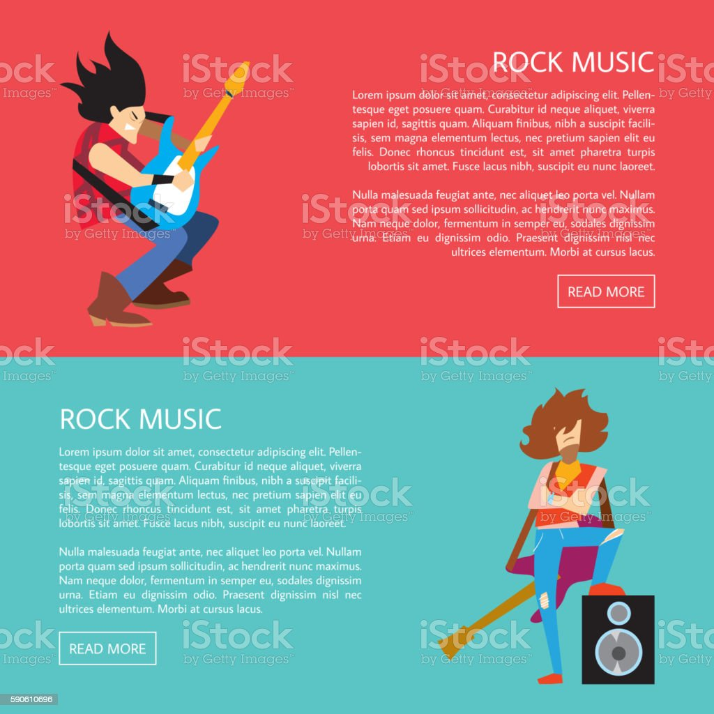 Banners with rock musicians playing instruments vector art illustration