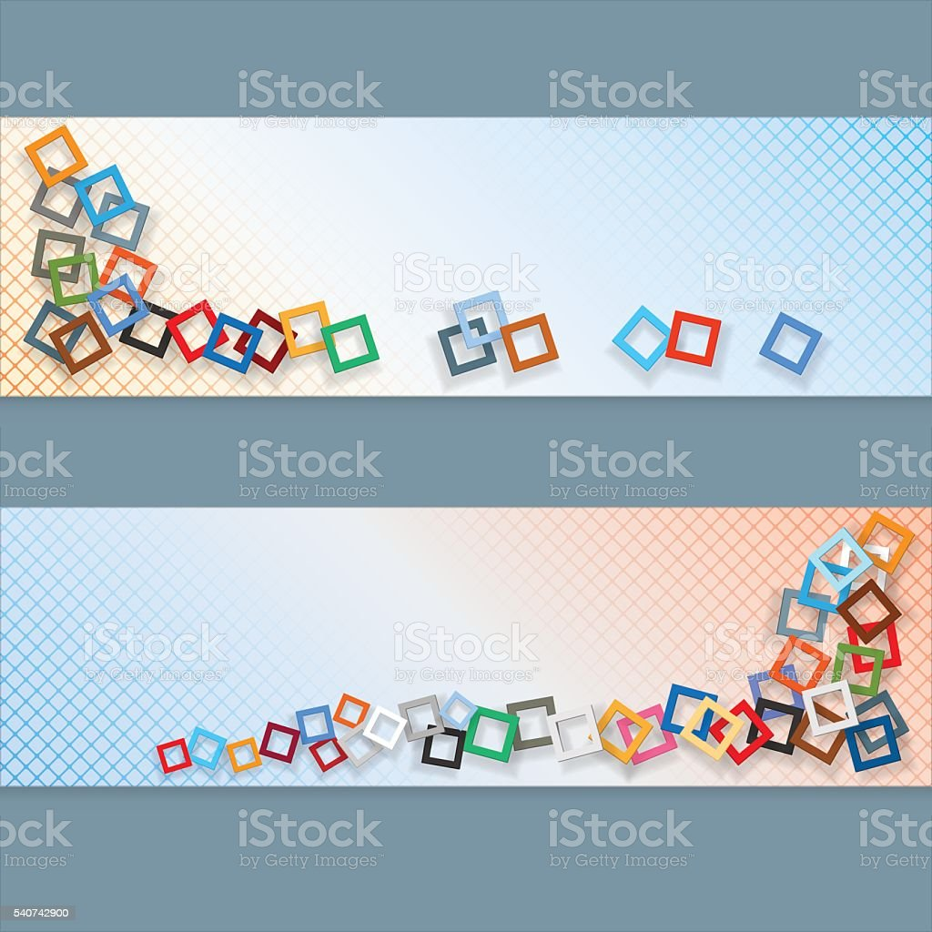Banners with squares mosaic vector art illustration