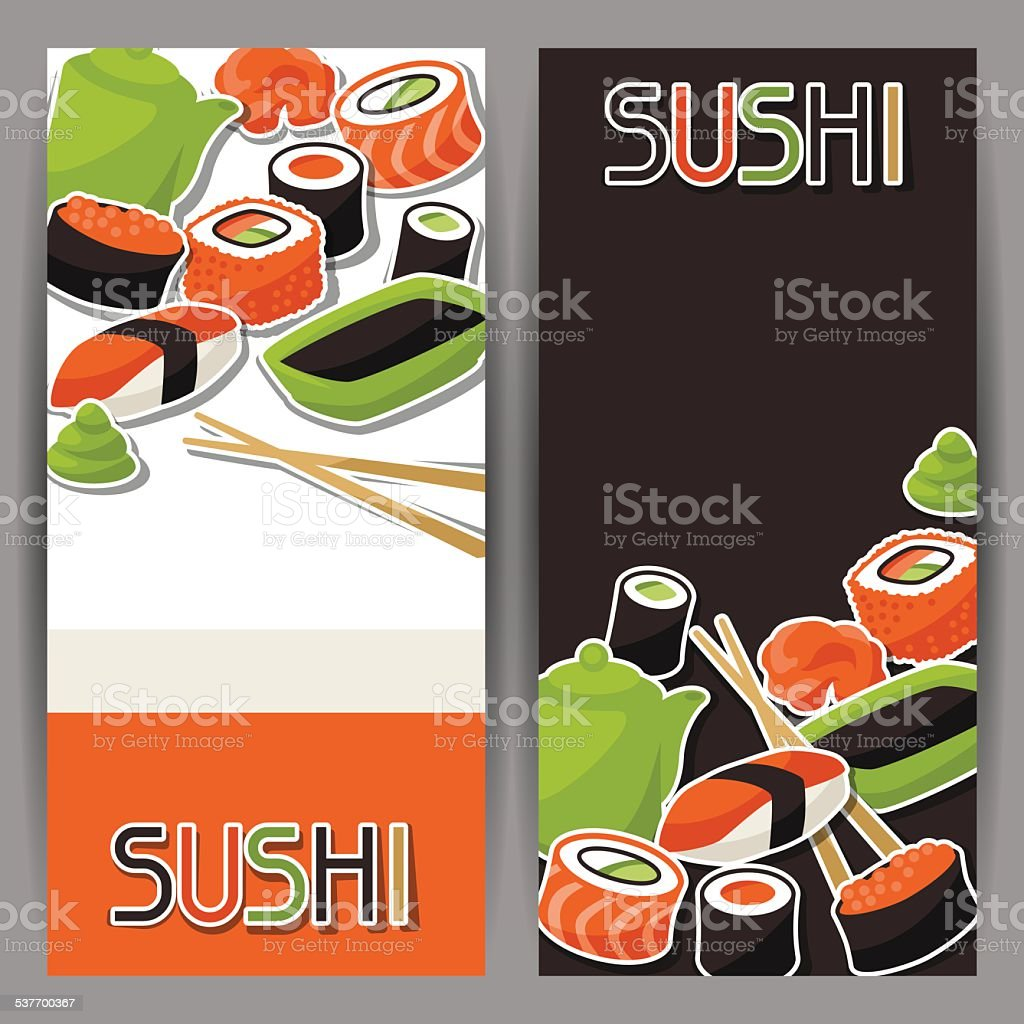 Banners with sushi vector art illustration