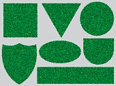 banners with texture of green grass for design
