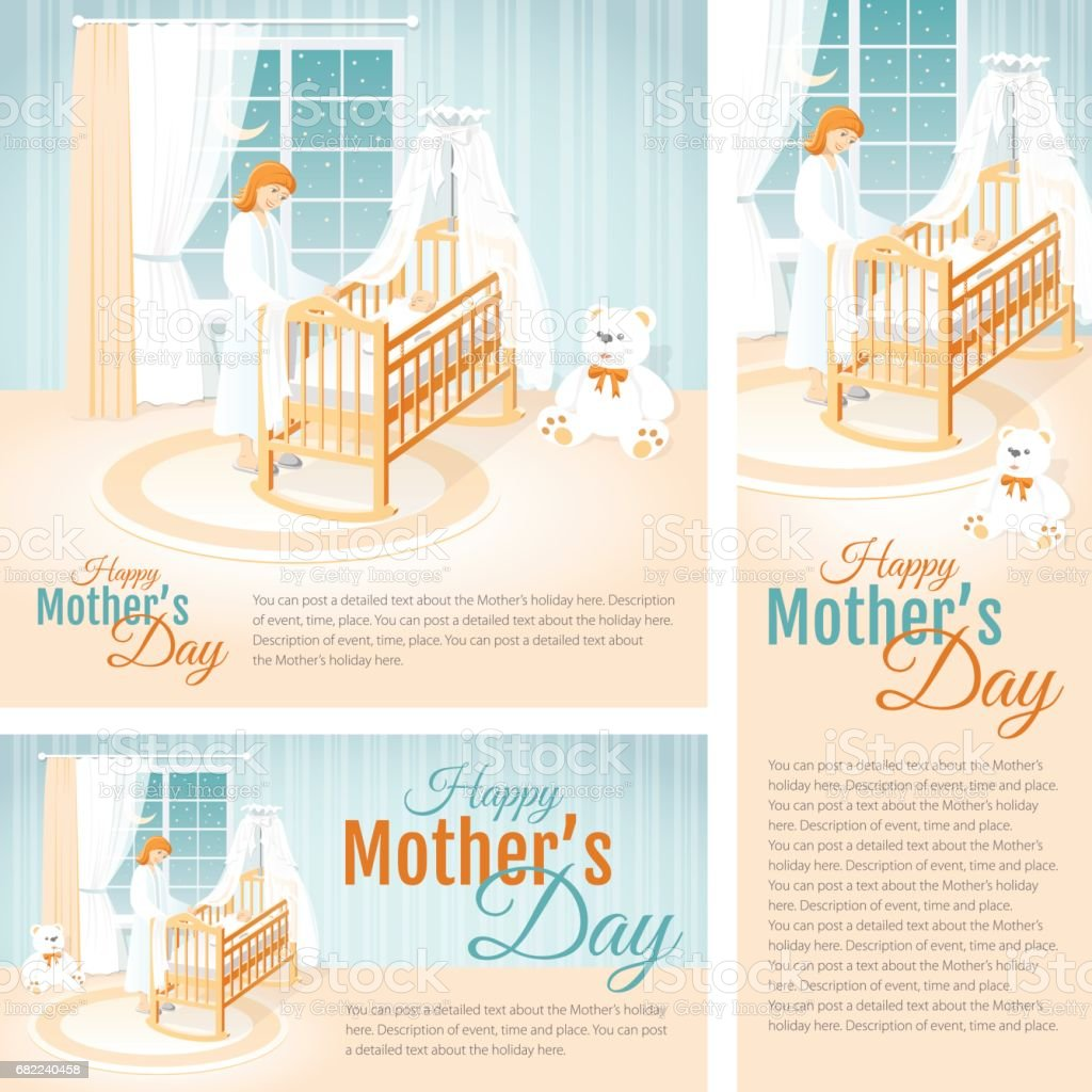 Banners with the Mother and the Child in the Cot. Happy Mother's Day. vector art illustration