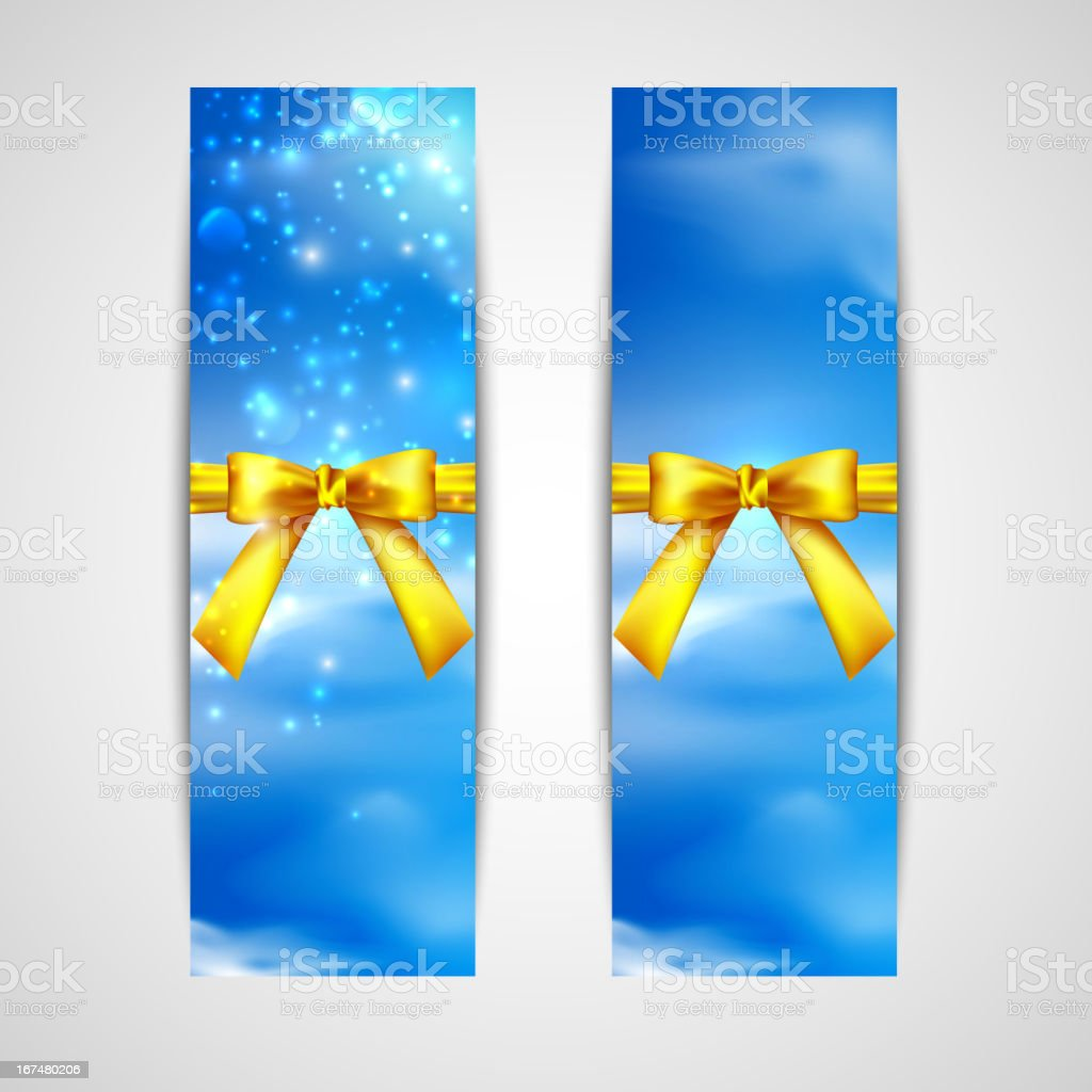 banners with yellow bows on the sky background royalty-free stock vector art