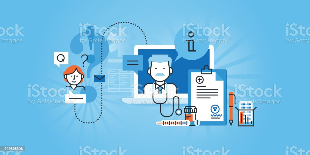 + PURE BannersFlat line design website banner of online medical services vector art illustration