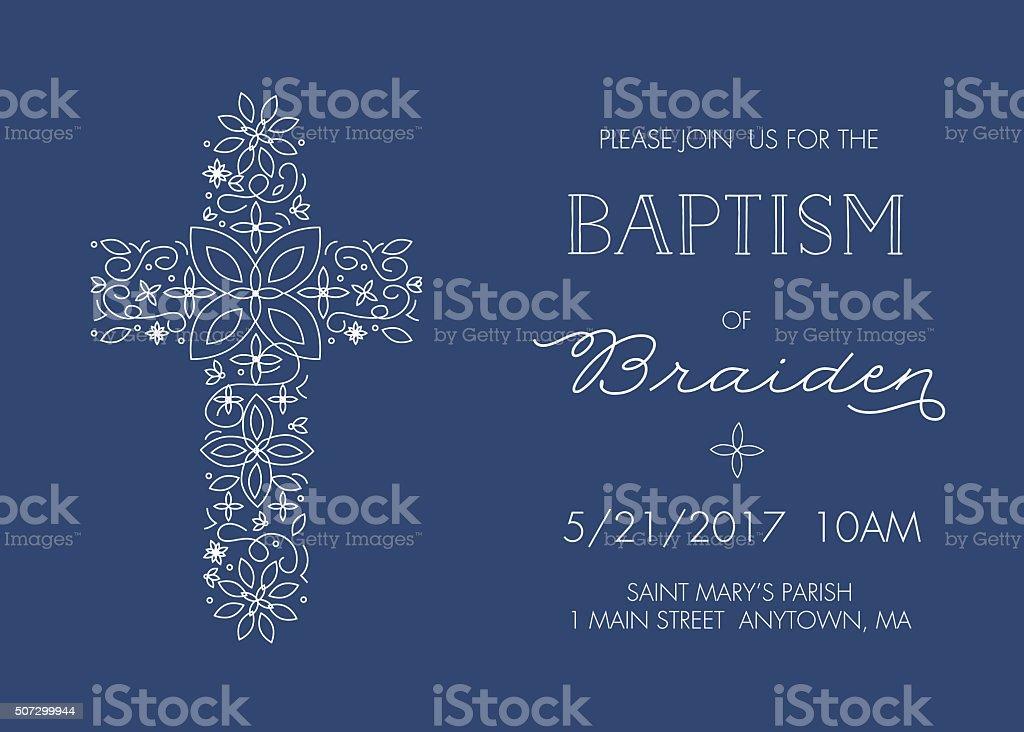 Baptism, Christening, Communion, Confirmation Invite - Invitation Template - Vector vector art illustration