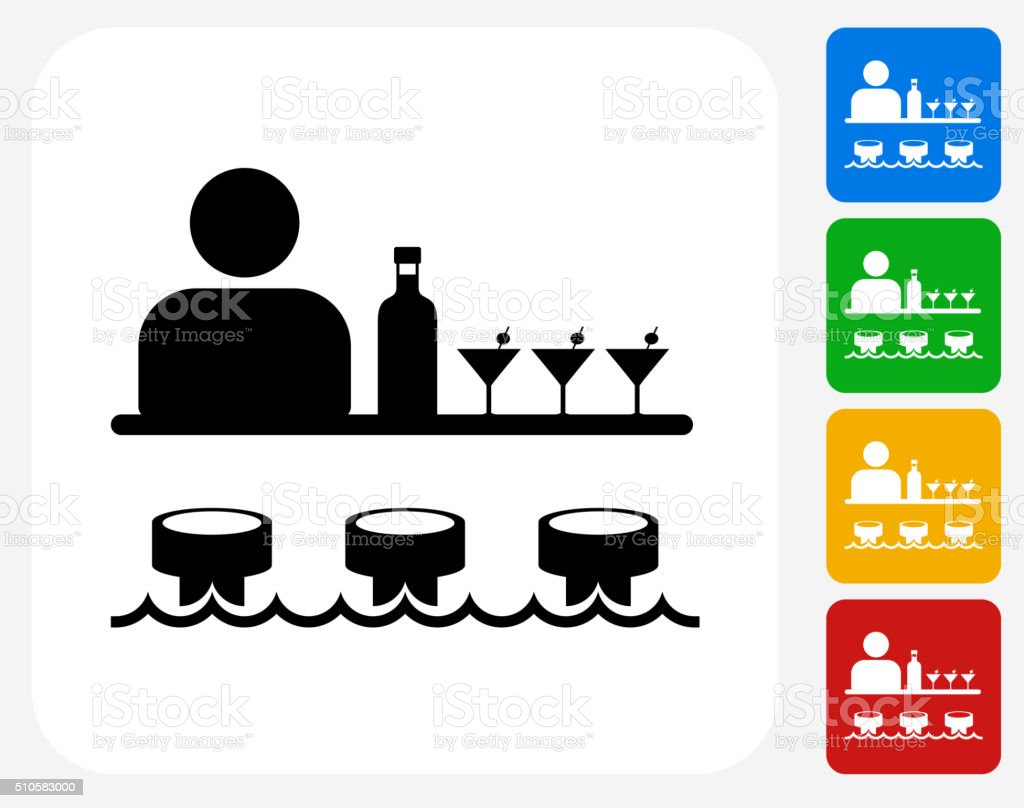 Bar and Bartender Icon Flat Graphic Design vector art illustration