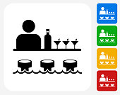 Bar and Bartender Icon Flat Graphic Design