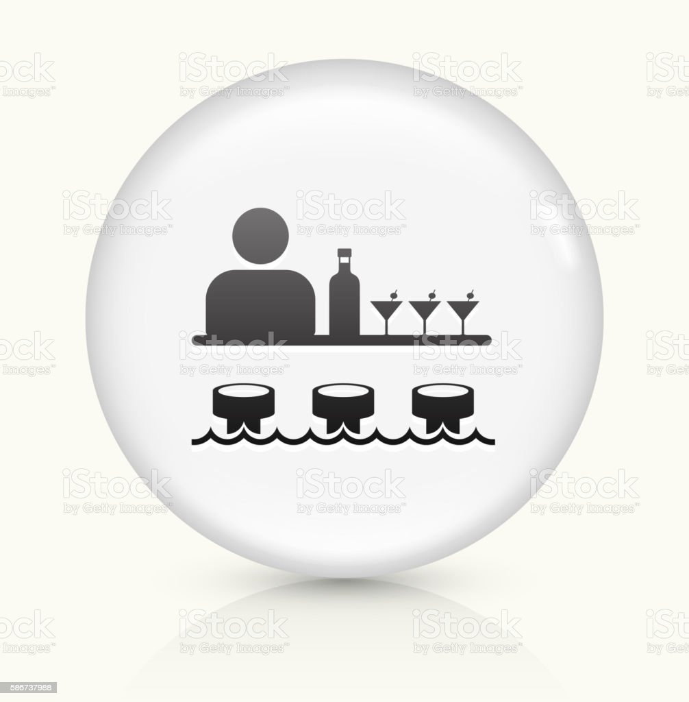 Bar and Bartender icon on white round vector button vector art illustration
