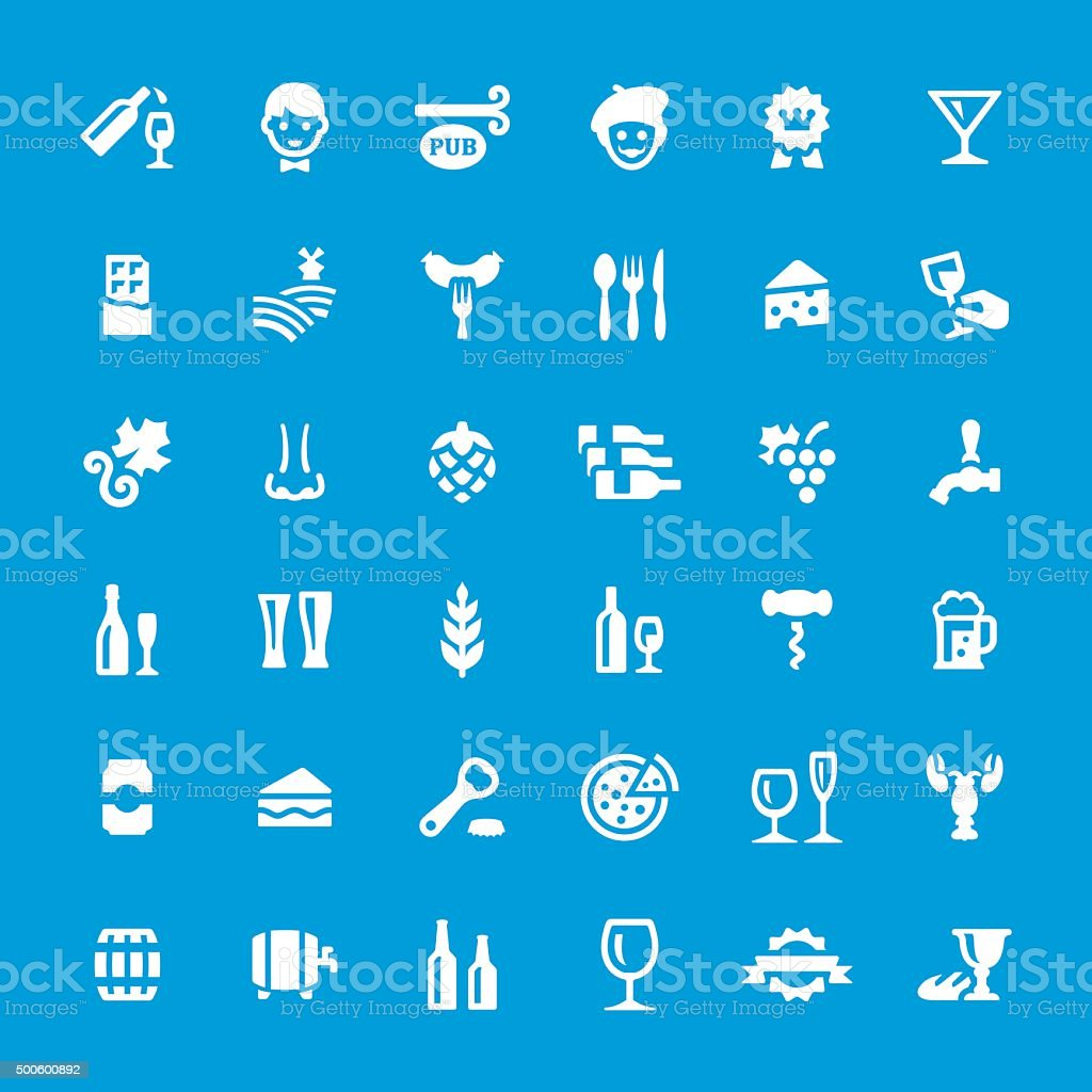 Bar and Cafe vector icons set vector art illustration