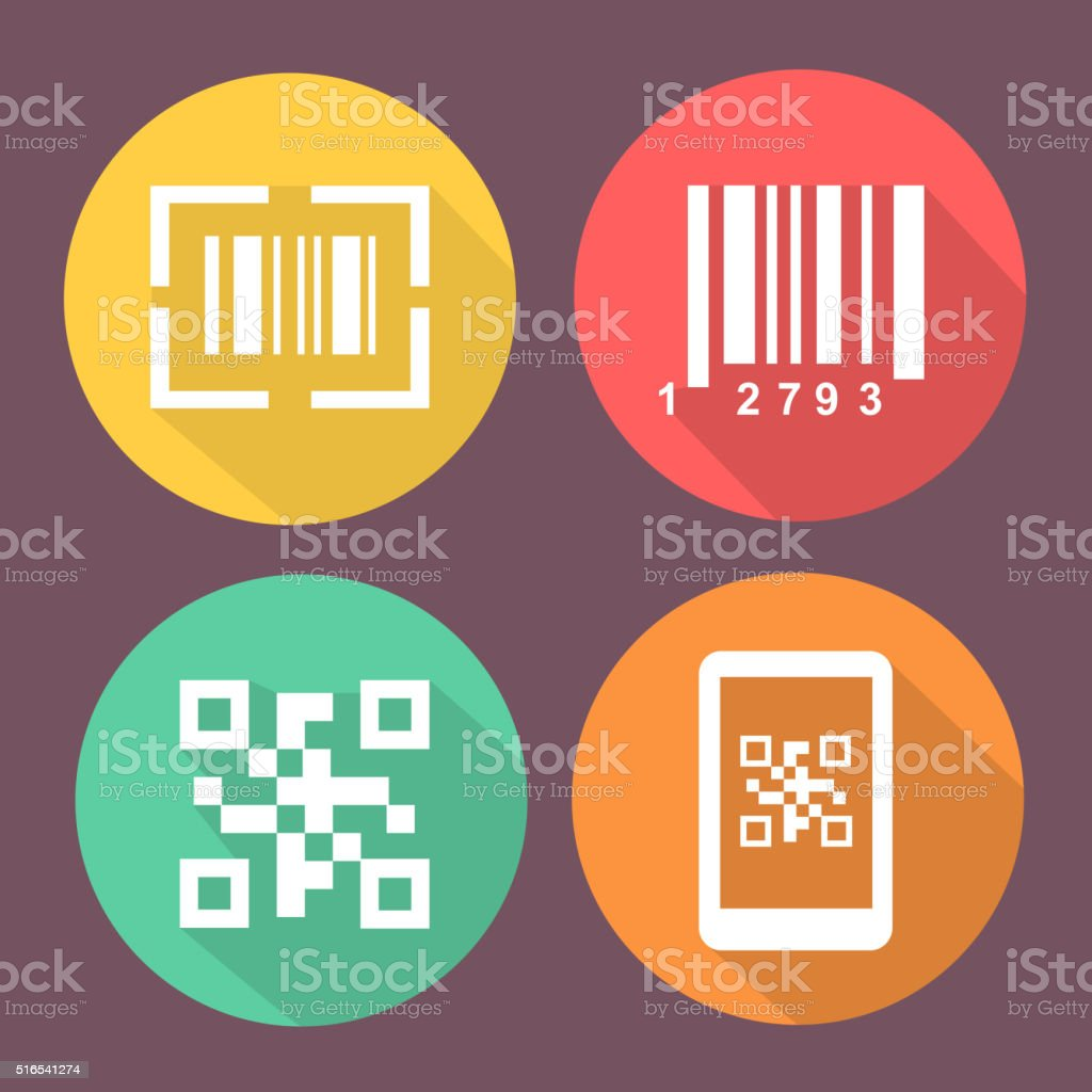 Bar and Qr code icons.    Scan barcode. Circle flat buttons vector art illustration