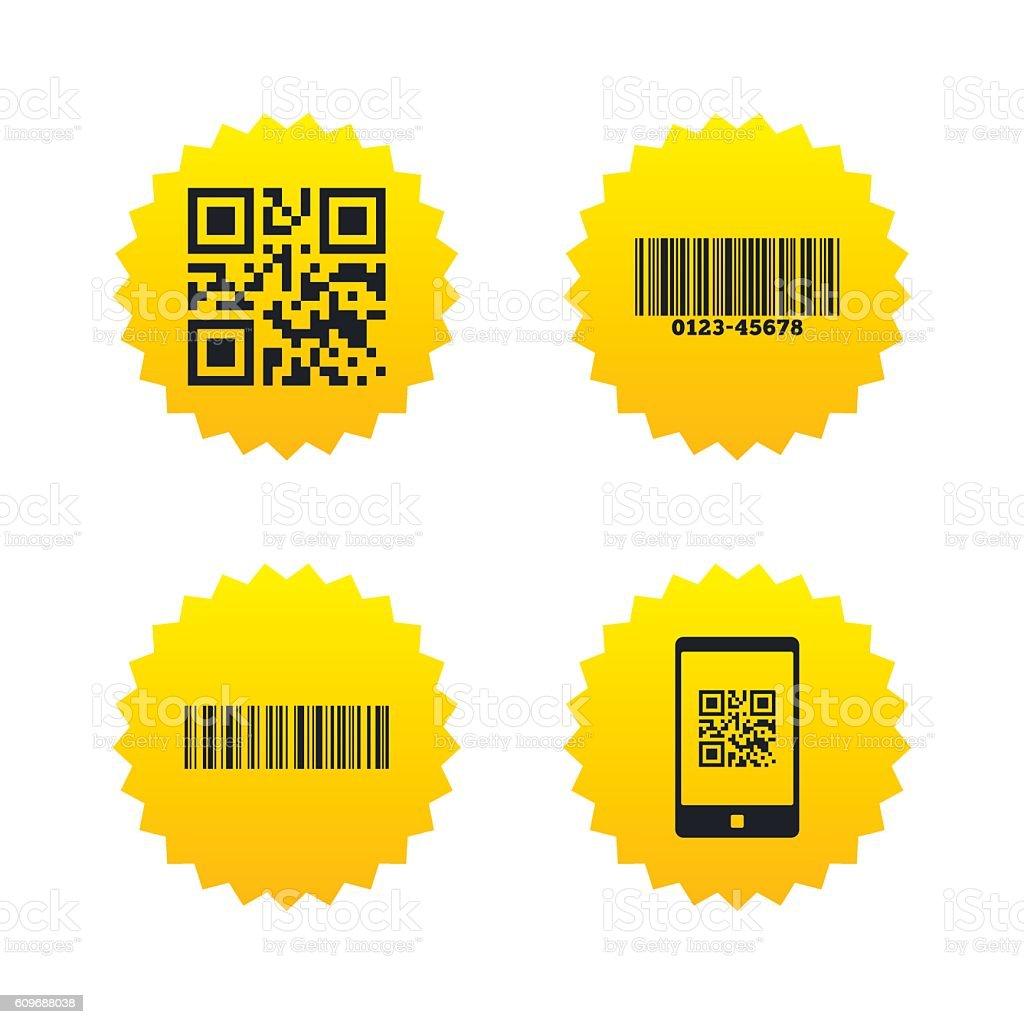 Bar and Qr code icons. Scan barcode symbol. vector art illustration