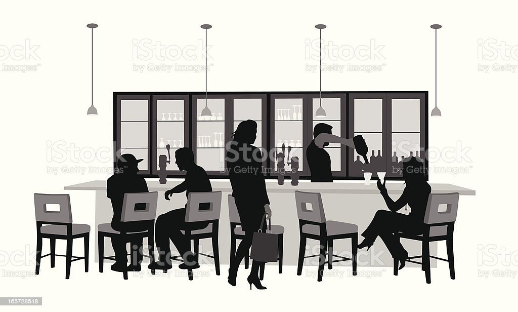 Bar Chairs Vector Silhouette royalty-free stock vector art