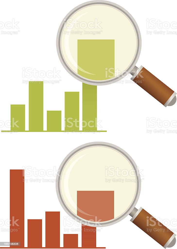 Bar Chart with Magnifying Glass vector art illustration