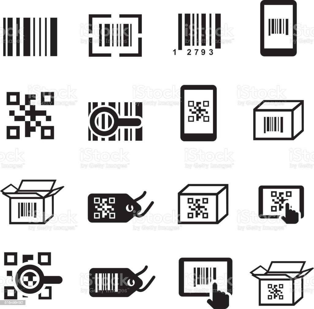 QR Bar code icons set. Scan coding, sticker identification. vector art illustration