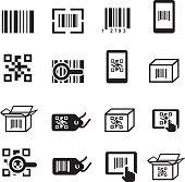 QR Bar code icons set. Scan coding, sticker identification.
