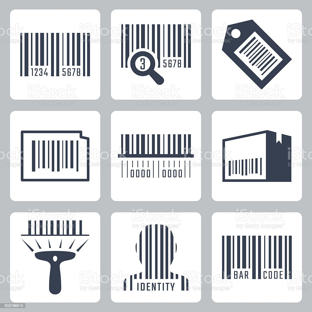 Bar code related vector icons set vector art illustration