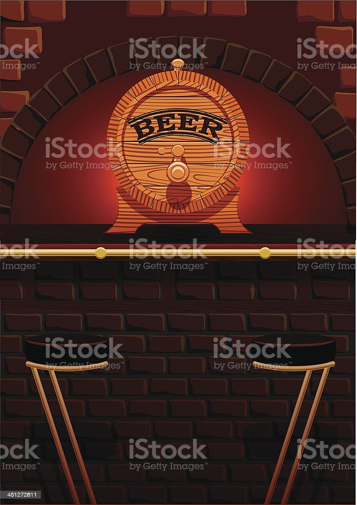 bar counter and cask of beer royalty-free stock vector art