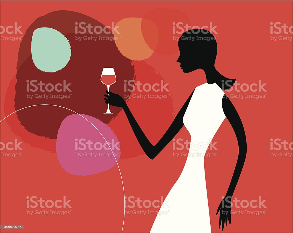 Bar Girl vector art illustration