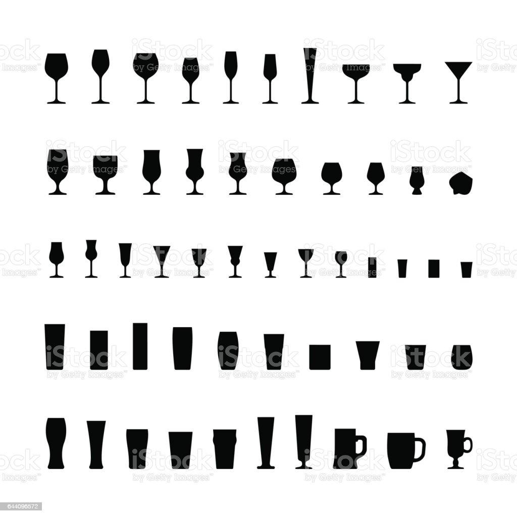 bar glassware line icons set stock vector art   istock - bar glassware black silhouette icons set