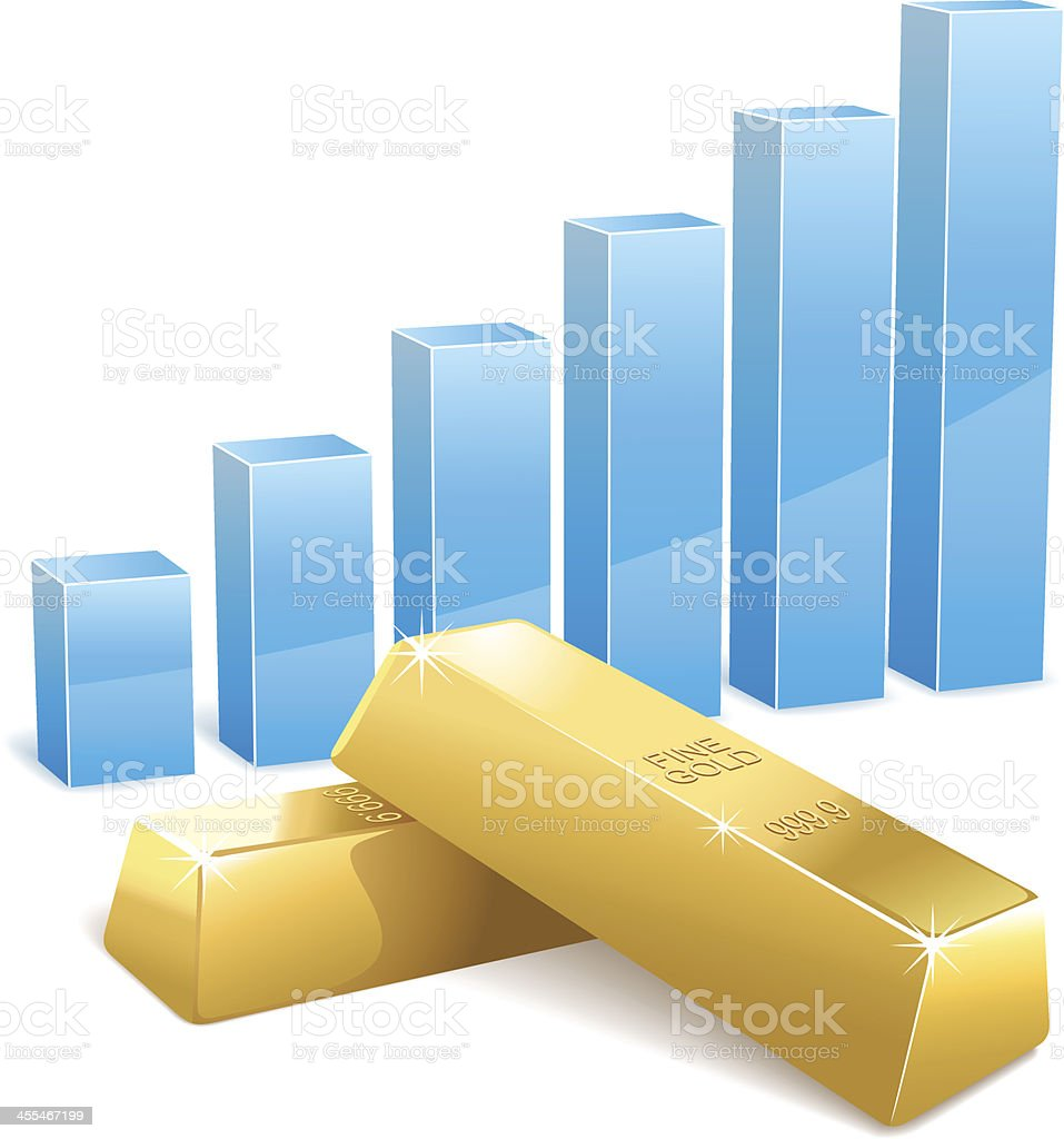 Bar Graph with Gold Ingots royalty-free stock vector art