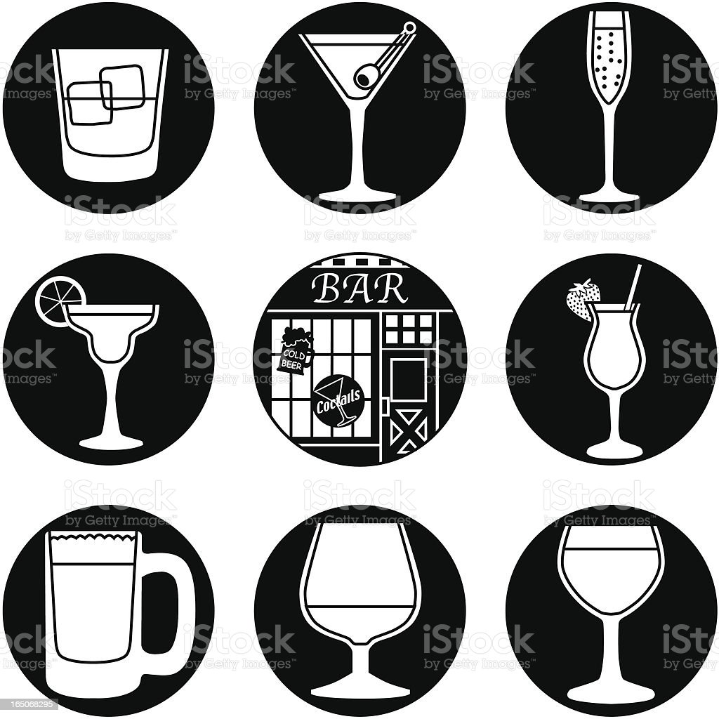 bar icons reversed royalty-free stock vector art