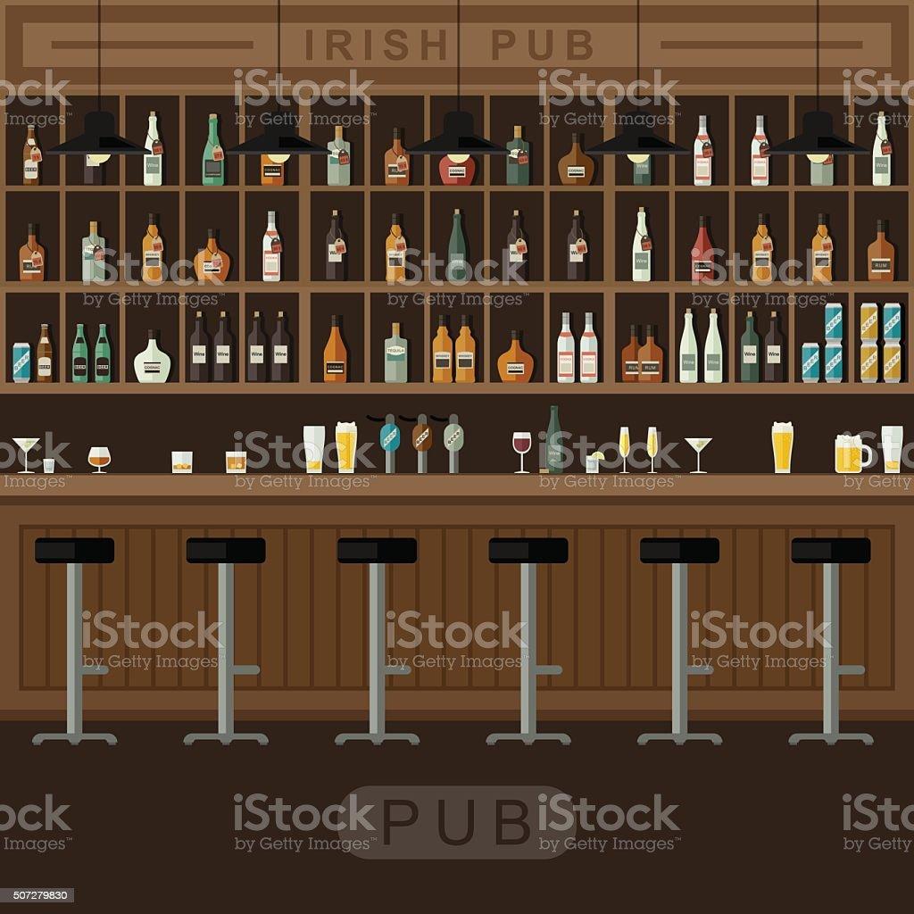 Bar interior with counter. vector art illustration