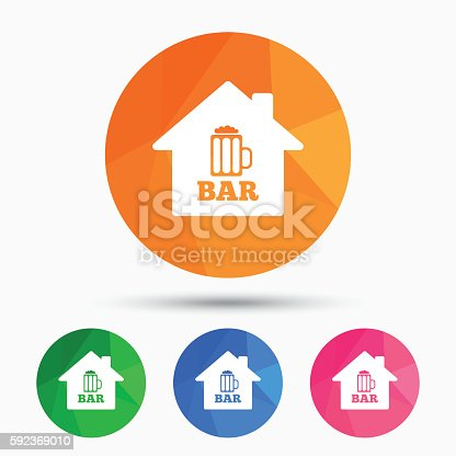 Bar Or Pub Sign Icon Glass Of Beer Symbol Stock Vector Art 592369010
