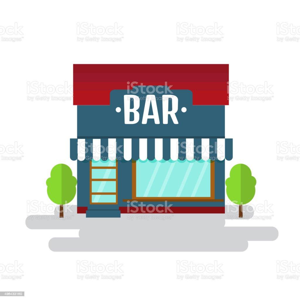 Bar or restaurant of flat style building. Vector illustration. vector art illustration