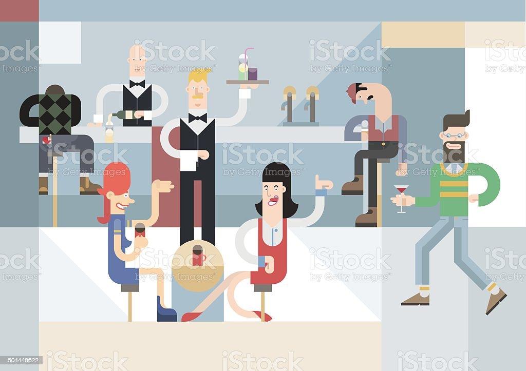 Bar scene vector art illustration