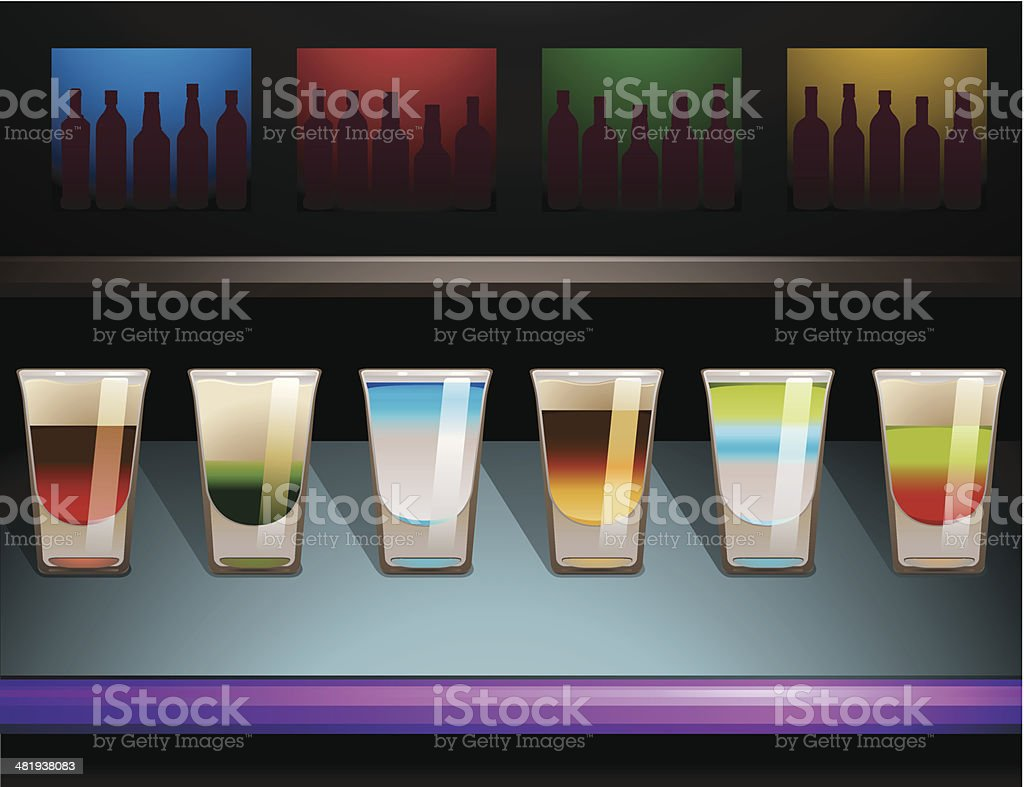 Bar Shots vector art illustration